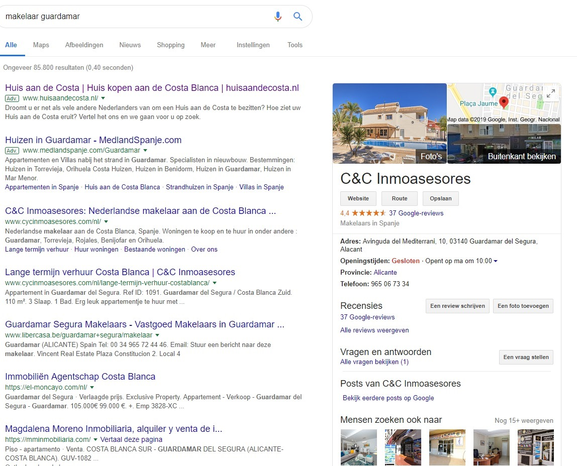 Vindbaarheid in Google-zoekresultaat-makelaar-guardamar-jpg